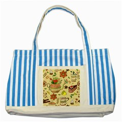 Colored Afternoon Tea Pattern Striped Blue Tote Bag by allthingseveryday