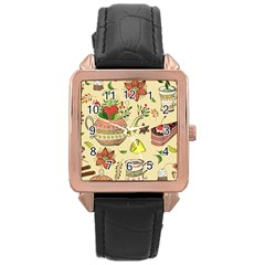 Colored Afternoon Tea Pattern Rose Gold Leather Watch  by allthingseveryday