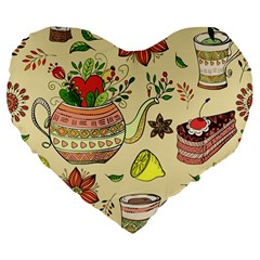 Colored Afternoon Tea Pattern Large 19  Premium Flano Heart Shape Cushions by allthingseveryday
