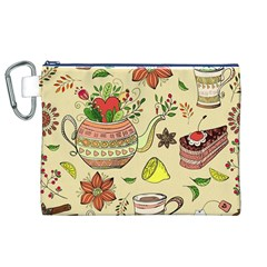 Colored Afternoon Tea Pattern Canvas Cosmetic Bag (xl) by allthingseveryday