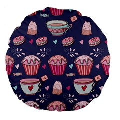 Afternoon Tea And Sweets Large 18  Premium Flano Round Cushions by allthingseveryday