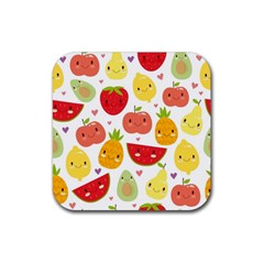 Happy Fruits Pattern Rubber Square Coaster (4 Pack)  by allthingseveryday