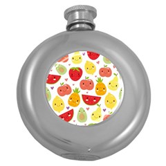 Happy Fruits Pattern Round Hip Flask (5 Oz) by allthingseveryday