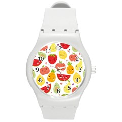 Happy Fruits Pattern Round Plastic Sport Watch (m) by allthingseveryday