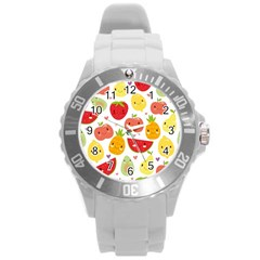 Happy Fruits Pattern Round Plastic Sport Watch (l) by allthingseveryday