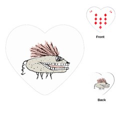 Monster Rat Hand Draw Illustration Playing Cards (heart)  by dflcprints