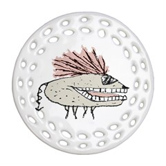 Monster Rat Hand Draw Illustration Ornament (round Filigree) by dflcprints