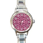Leopard Heart 03 Round Italian Charm Watch Front