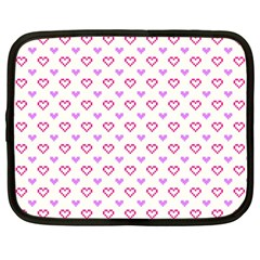 Pixel Hearts Netbook Case (large) by jumpercat