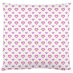 Pixel Hearts Large Cushion Case (two Sides) by jumpercat