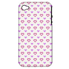 Pixel Hearts Apple Iphone 4/4s Hardshell Case (pc+silicone) by jumpercat