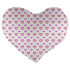Pixel Hearts Large 19  Premium Heart Shape Cushions by jumpercat