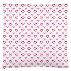 Pixel Hearts Large Flano Cushion Case (one Side) by jumpercat