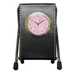 Pink Peonies Pen Holder Desk Clocks by 8fugoso