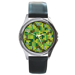 Tetris Camouflage Forest Round Metal Watch by jumpercat