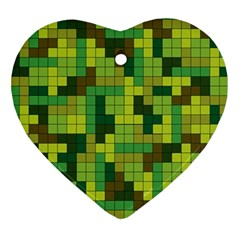 Tetris Camouflage Forest Ornament (heart) by jumpercat