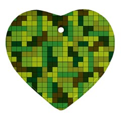 Tetris Camouflage Forest Heart Ornament (two Sides) by jumpercat