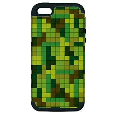 Tetris Camouflage Forest Apple Iphone 5 Hardshell Case (pc+silicone) by jumpercat