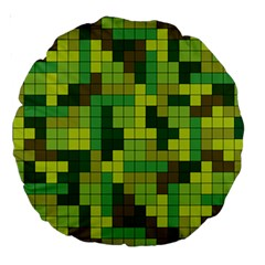 Tetris Camouflage Forest Large 18  Premium Round Cushions by jumpercat