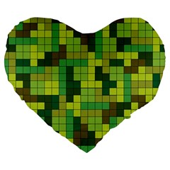 Tetris Camouflage Forest Large 19  Premium Heart Shape Cushions by jumpercat