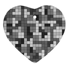 Tetris Camouflage Urban Heart Ornament (two Sides) by jumpercat