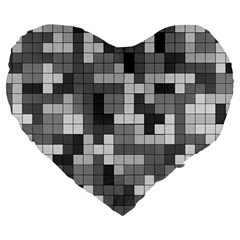 Tetris Camouflage Urban Large 19  Premium Heart Shape Cushions by jumpercat