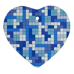 Tetris Camouflage Marine Heart Ornament (two Sides) by jumpercat