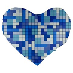 Tetris Camouflage Marine Large 19  Premium Heart Shape Cushions by jumpercat