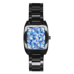 Tetris Camouflage Marine Stainless Steel Barrel Watch