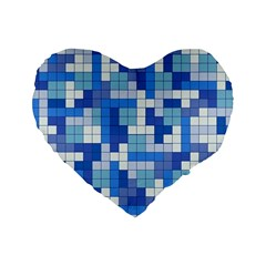 Tetris Camouflage Marine Standard 16  Premium Flano Heart Shape Cushions by jumpercat