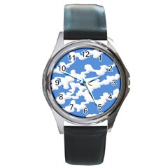 Cloud Lines Round Metal Watch by jumpercat