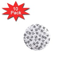 A Lot Of Skulls White 1  Mini Magnet (10 Pack)  by jumpercat