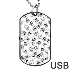 A Lot Of Skulls White Dog Tag Usb Flash (two Sides) by jumpercat