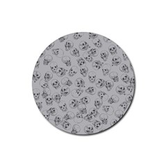 A Lot Of Skulls Grey Rubber Coaster (round)  by jumpercat