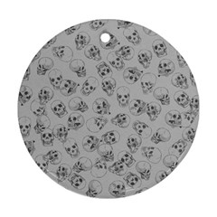 A Lot Of Skulls Grey Round Ornament (two Sides) by jumpercat