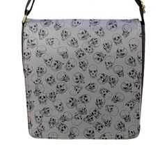 A Lot Of Skulls Grey Flap Messenger Bag (l)  by jumpercat