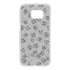 A Lot Of Skulls Grey Samsung Galaxy S7 Edge White Seamless Case by jumpercat