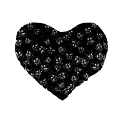 A Lot Of Skulls Black Standard 16  Premium Flano Heart Shape Cushions by jumpercat