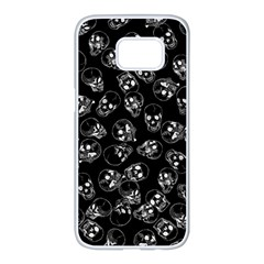 A Lot Of Skulls Black Samsung Galaxy S7 Edge White Seamless Case by jumpercat