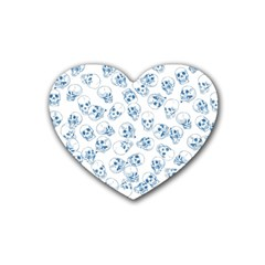 A Lot Of Skulls Blue Rubber Coaster (heart)  by jumpercat