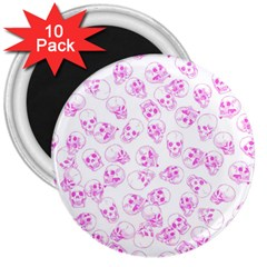 A Lot Of Skulls Pink 3  Magnets (10 Pack)  by jumpercat