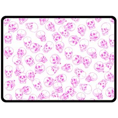 A Lot Of Skulls Pink Double Sided Fleece Blanket (large)  by jumpercat