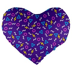 Retro Wave 1 Large 19  Premium Heart Shape Cushions by jumpercat