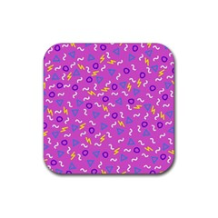 Retro Wave 2 Rubber Coaster (square)  by jumpercat