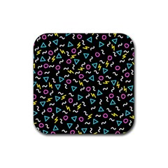 Retro Wave 3 Rubber Coaster (square)  by jumpercat
