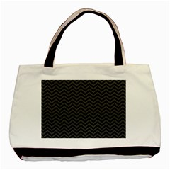 Dark Chevron Basic Tote Bag (two Sides) by jumpercat