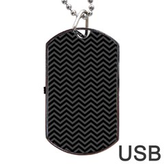 Dark Chevron Dog Tag Usb Flash (one Side) by jumpercat