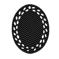 Dark Chevron Oval Filigree Ornament (two Sides) by jumpercat