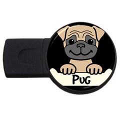 Tan Pug With A Bone  Usb Flash Drive Round (4 Gb) by allthingseveryday