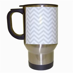 Light Chevron Travel Mugs (white) by jumpercat